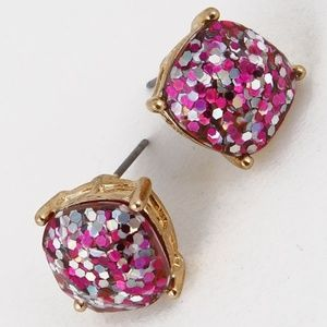 Jewelry - Glitter Stud Rounded Square Silver Gold Earrings